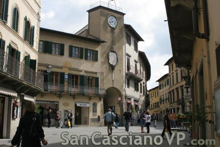 The main square of San Casciano in Val di Pesa with the clock tower